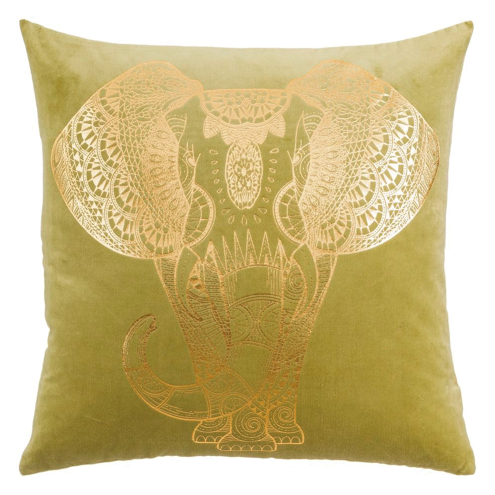 Cojín Cuadrado Elefante Algodón Verde Oro 60 x 60 cm
