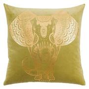 Cojín Vintage Elefante Verde Oro 60 x 60 cm