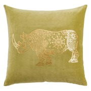 Cojín Vintage Rinoceronte Verde Oro 60 x 60 cm