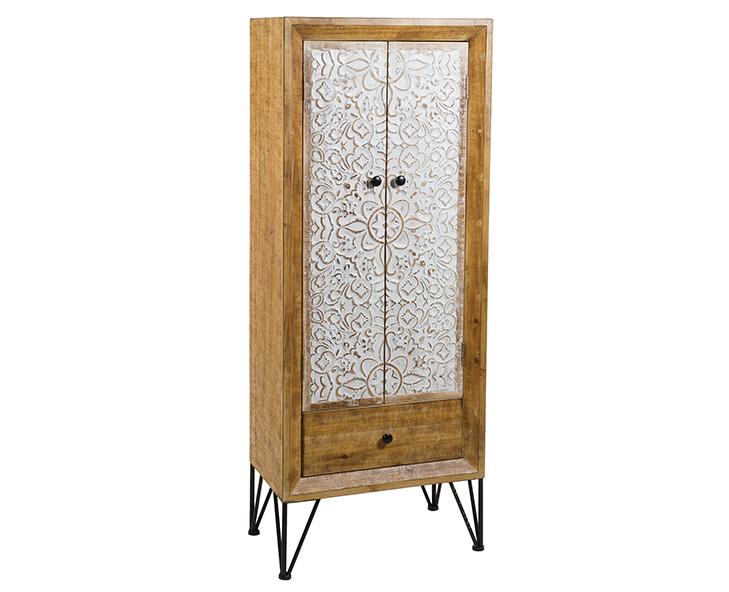 Vitrina Nara de Madera de Abeto 2 Puertas 33 x 56 x 142 cm