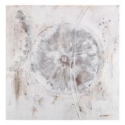 Pintura Abstracta en Lienzo Gris Blanco 2,8 x 100 x 100 cm