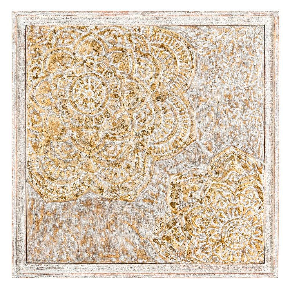 Mural Flor en Hierro Oro Blanco 3,5 x 62,5 x 62,5 cm