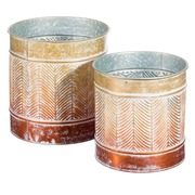 Set 2 Maceteros en Hierro Oro Marrón 35 x 35 x 35 cm