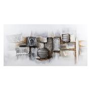 Pintura Abstracta en Lienzo Blanco Plata 4 x 150 x 75 cm