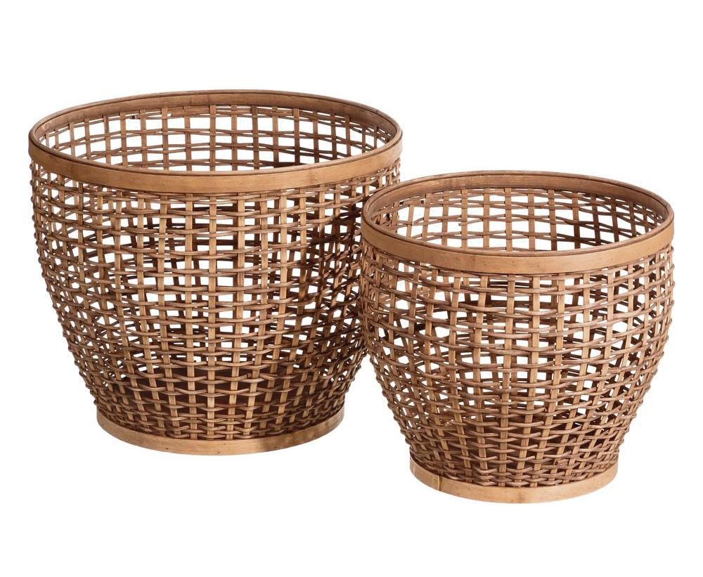 2 Cestos Bambú Natural 43,5 x 43,5 x 36,5 cm