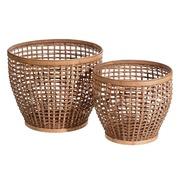 Set 2 Cestos en Bambú en Natural 43,5 x 43,5 x 36,5 cm