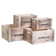 Set 4 Cajas de Madera de Paulonia 26 x 36 x 18 cm
