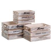 Set 3 Cajas de Madera Blanco Rozado 30 x 40 x 23 cm
