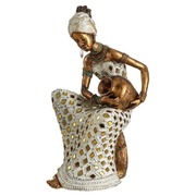 Figura Decorativa Africana en Poliresina 18 x 21,5 x 35,5 cm