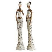 Figura Decorativa Africana en Poliresina 13,5 x 13,5 x 62,5 cm