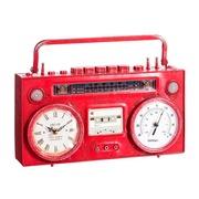 Reloj Radio en Hierro Rojo 9,5 x 35,5 x 21 cm