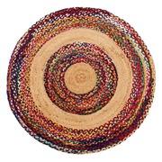 Alfombra Redonda en Yute Multicolor 120 x 120 cm