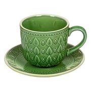 Taza de Cafe con Plato Natura en Porcelana