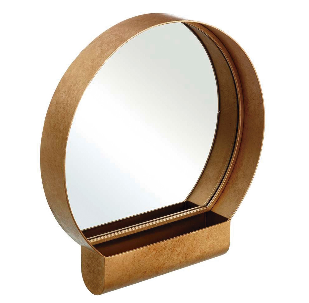 Espejo de Pared de Hierro Dorado 7,5 x 40 x 43,5 cm