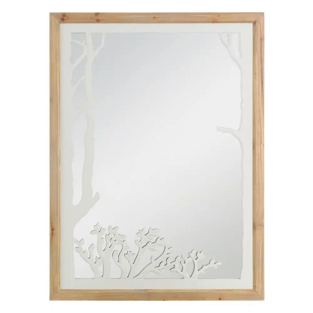 Espejo de Pared de Madera de Abeto 2,5 x 60 x 80 cm
