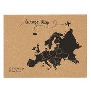 Mapa Sobre Corcho de Europa Negro