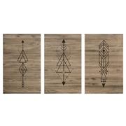 Cuadro Cabecero Triptico Flechas Geometricas de Madera