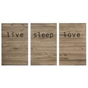 Cuadro Cabecero Triptico Envejecido Live Love Sleep