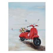 Pintura Vespa Roja Sobre Lienzo 3,5 x 90 x 120 cm