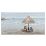Pintura Playa Tumbonas Lienzo Azul Crema 3,5 x 140 x 70 cm