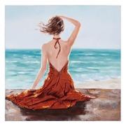 Pintura Mujer Sobre Lienzo Azul Marrón 3,5 x 100 x 100 cm