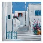 Pintura Casas sobre Lienzo Blanco Azul 3,5 x 90 x 90 cm