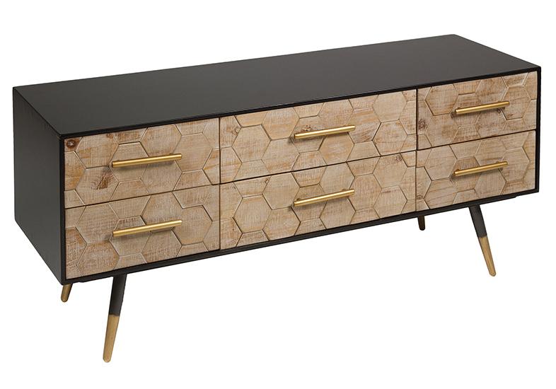 Mueble de Televisión de Madera Industrial 6 Cajones 38 x 120 x 52 cm