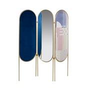 Biombo Oval Azul  con Espejo 2 x 145 x 166 cm
