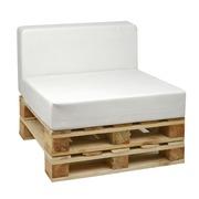 Sofá Palet de 80 x 80 con Cojines de Polipiel Blanco Roto