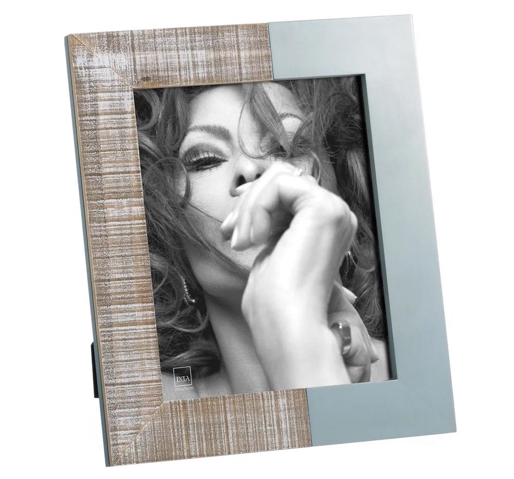 Portafotos Vintage 20x25 de Madera Azul Blanco 2,2 x 28 x 33 cm