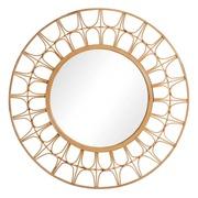 Espejo de Pared Circular de Bambú Natural 3,5 x 100 x 100 cm