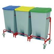 Carro de Reciclaje 3 Cubos y Ruedas de Goma Ref.3017-3