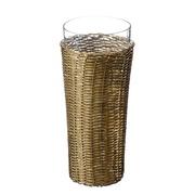 Jarrón de Cristal Oro Viejo 14 x 14 x 32 cm