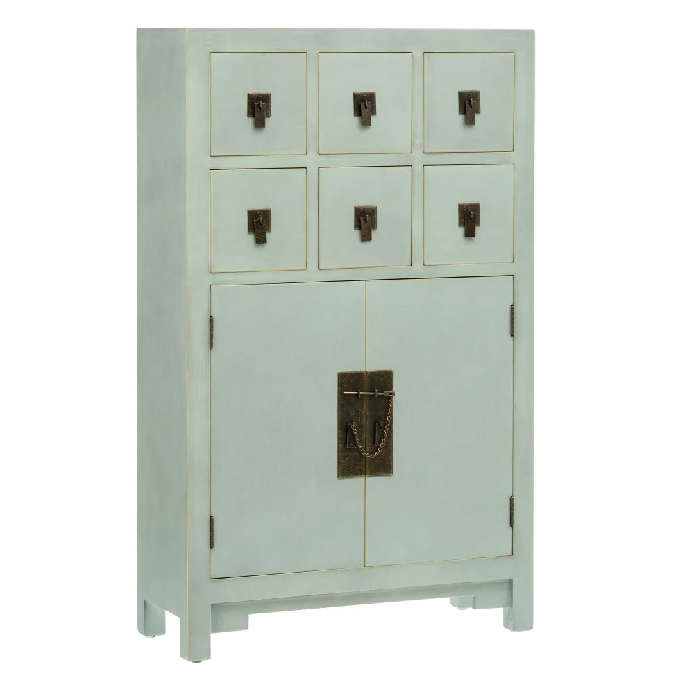 Mueble Auxiliar Oriental de Madera 6 Cajones 26 x 63 x 104 cm