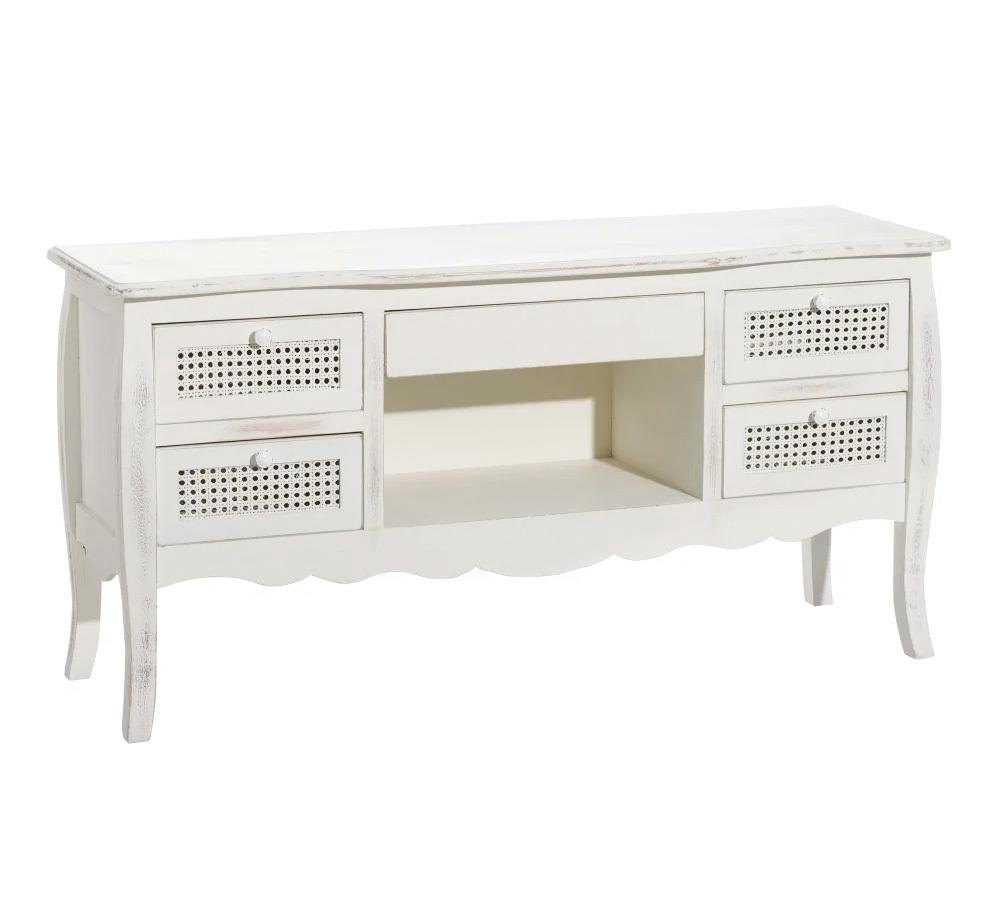 Mueble de Televisión Blanco Envejecido 40 x 122,3 x 62 cm