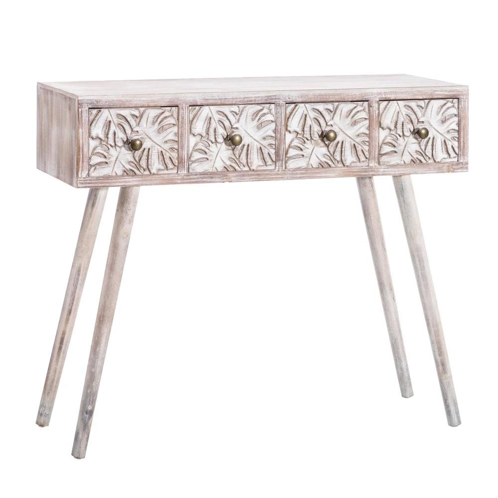 Consola Hojas de Madera 4 Cajones 30 x 97 x 81,5 cm