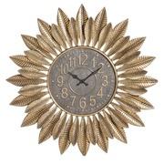 Reloj de Pared Hojas en Zinc Oro Envejecido