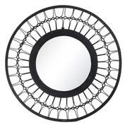 Espejo Pared Circular de Ratán Negro 2,5 x 60 x 60 cm