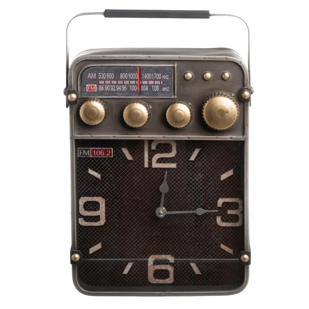 Rreloj Radio Vintage Sobre Mesa en Hierro 9,5 x 24 x 35,5 cm