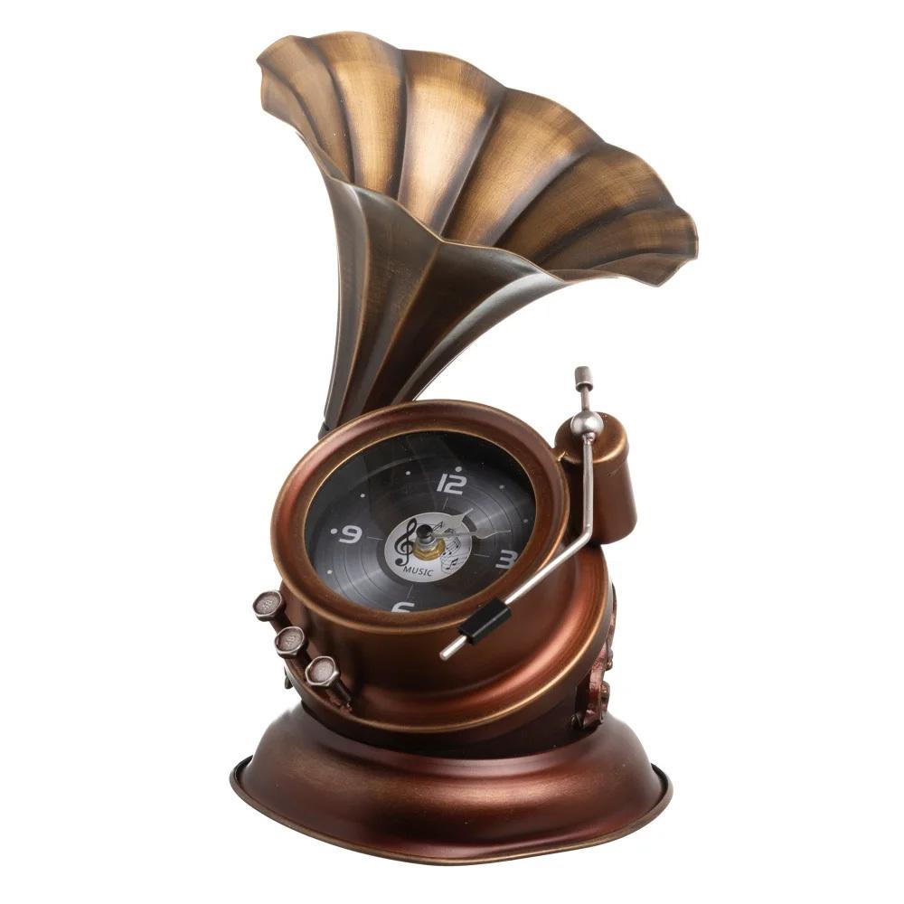 Reloj Gramáfono Vintage de Sobre Mesa en Hierro 22 x 25 x 33 cm
