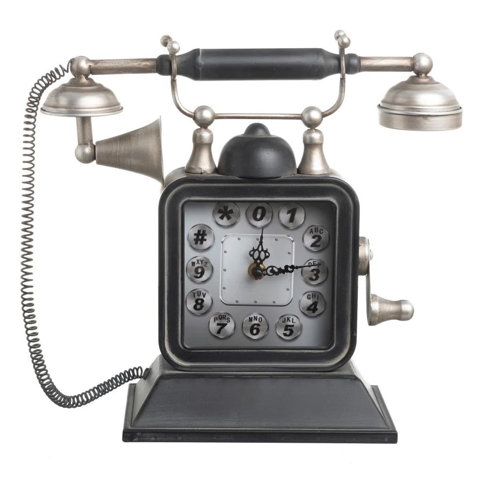 Reloj Teléfono Vintage Sobre Mesa en Hierro 12 x 35,5 x 31 cm