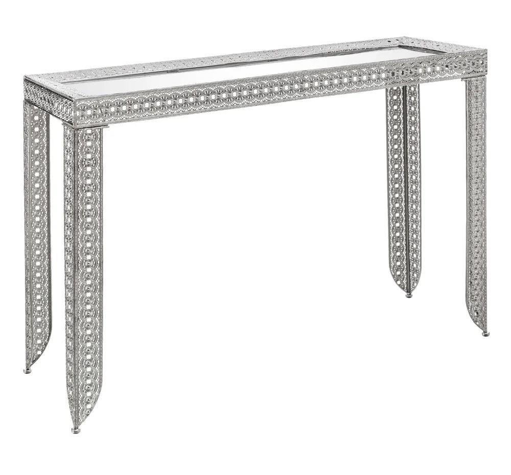Consola de Hierro Plata con Cristal Espejo 80 x 38 x 120 cm