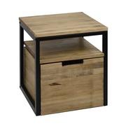 Mesa de Noche Sostenible iCub Three con Estante y Cajón Extraíble con Ruedas