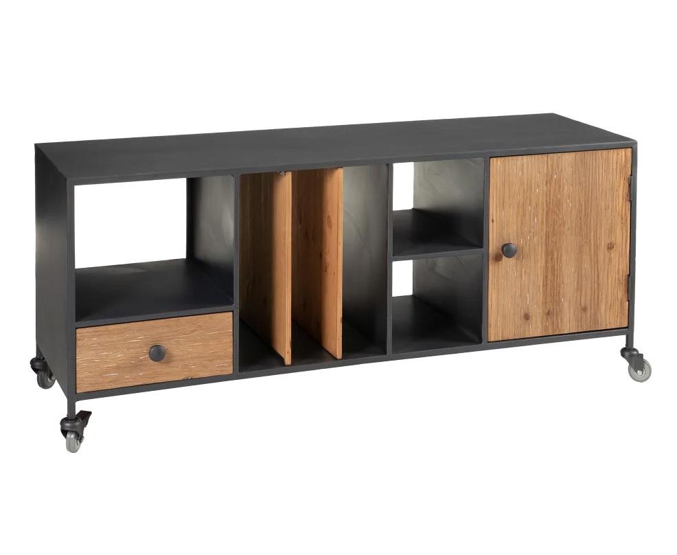 Mueble de Televisión Industrial en Madera 1 Puerta 38 x 120 x 52 cm