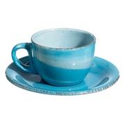 Taza con Plato de Loza Azul 180 ml