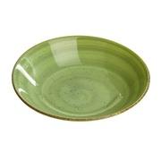 Plato Hondo Verde de Loza 20,5 cm