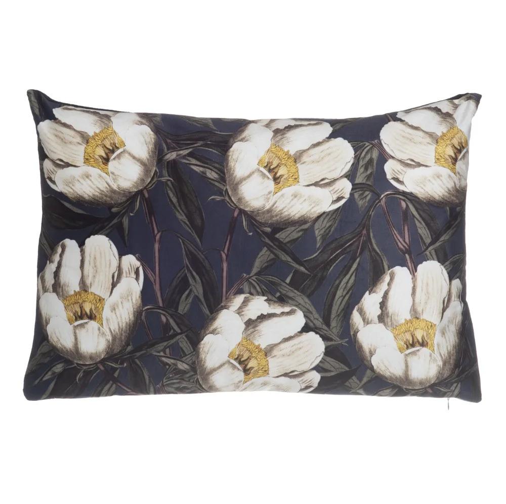 Cojín Vintage Flores Blancas de Poliéster 60 x 40 cm