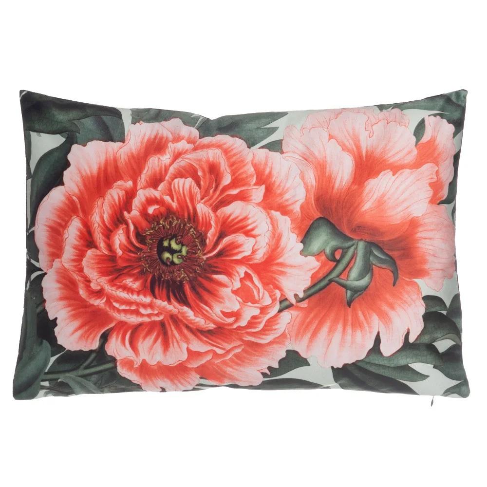 Cojín Vintage Flores Coral de Poliéster 60 x 40 cm