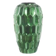 Jarrón de Cerámica Verde Oscuro 24 x 24 x 43 cm
