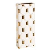Jarrón Blanco Oro de Cerámica 10,5 x 20,5 x 50,5 cm